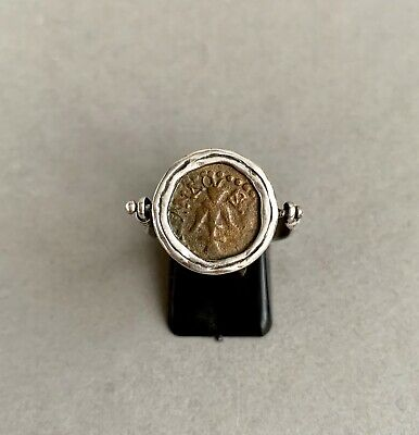 Ancient Biblical Widows Mite Mounted In .925 Silver Ring FREE UK POSTAGE