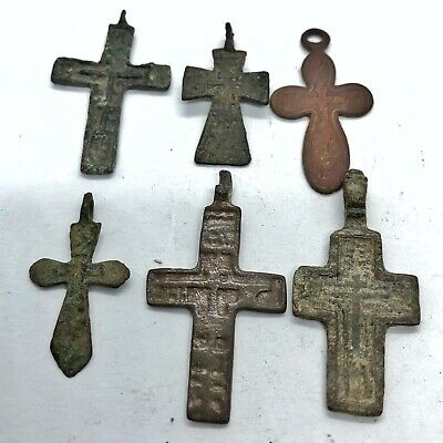 6 Russian Byzantine Cross 1500-1800's Artifacts Calvary Orthodox Jesus Medieval