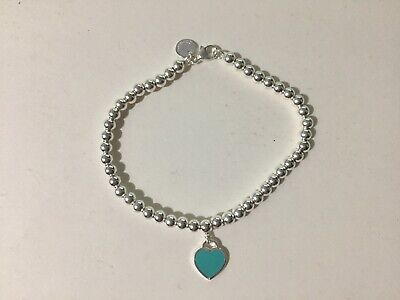 Return to Tiffany & Co blue mini heart bead bracelet ,silver , medium , 7""