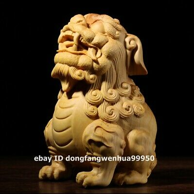 Chinese Lobular boxwood wood Wealth fengshui Animal Foo dog lion Qilin sculpture
