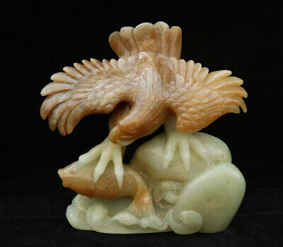 Chinese Exquisite Hand carved eagle fish Carving Hetian jade statue