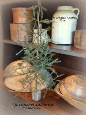 "Primitive Country Faux Feather Christmas Tree with Wood Base 16"" Tall"