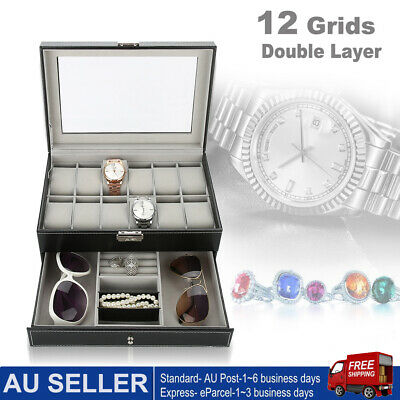 2-Layer Watch Jewelry Storage Holder Box Watches Sunglasses Display Best Gift