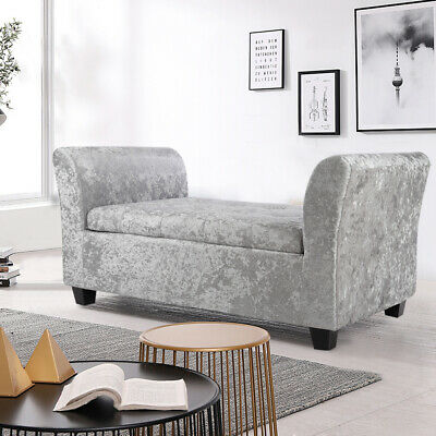 Crush Velvet Window Seat Ottoman Storage Box Bench End Bed Sofa Footstool Chairs