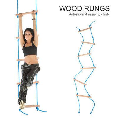 Kids Outdoor Climbing Toys 6-Rungs Wooden Hanging Swing Rope Ladder Xmas Gift