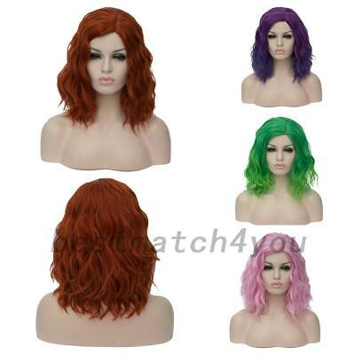 Lady Short Ombre Wigs Party Synthetic Hair Curly Cosplay Anime Wig+Cap AU