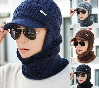 Unisex Men Winter Warm Hat Craft Knit Visor Beanie Fleece Lined Ear Flap Cap US