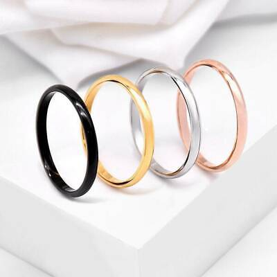 For Women Girl Size 5-9 2mm Thin Stackable Ring Stainless Steel Plain Band