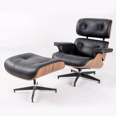 Classic Black For Eames Lounge Chair & Ottoman Real Leather Palisander wood