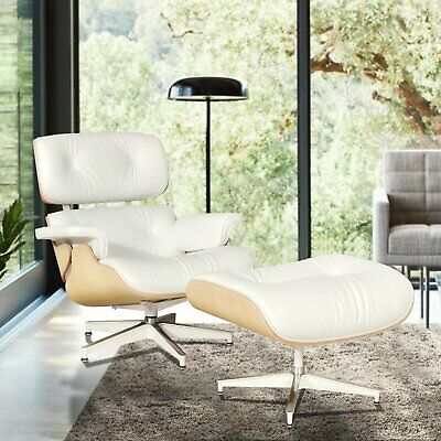 For Eames Style Lounge Chair & Ottoman Reproduction Aniline Leather White Ash
