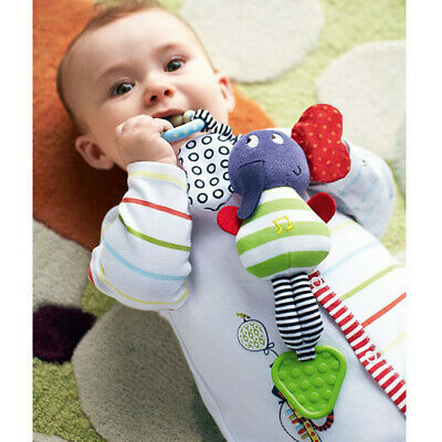 Cute Music Elephant Bell Rattles Toy Safety Baby Soft Plush Stroller Doll Toys