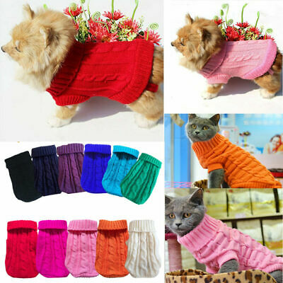 Dog Knit Clothes Puppy Pet Cat Sweater Jacket Coat Jumper Warm Winter Clothes aa