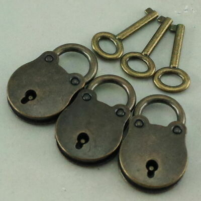 3 Pcs Old Vintage Antique Style Mini Padlocks Key Lock