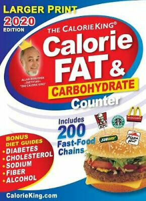NEW CalorieKing 2020 Larger Print Calorie, Fat & Carbohydrate Counter By Allan B