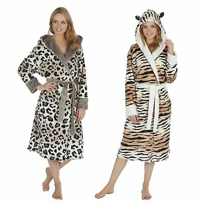 Ladies Tiger/Leopard Novelty Fleece Robe/Dressing Gown With Hood S-XL Size 8-22
