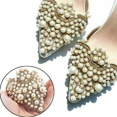 2x Pearl Flower Shoe Clip Rhinestones Removable Pointed Shoes Decoration