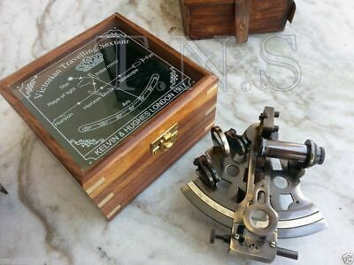 Collectible Antique Nautical Brass Working German Marine Sextant w/Wooden Box
