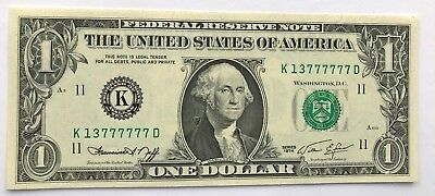 1974  $1 DOLLAR BILL NEAR SOLID Serial Numbers 13777777 UNC Choice/Gem Note