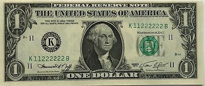 1974  $1 DOLLAR BILL NEAR SOLID Serial Numbers 11222222 UNC Choice/Gem Note