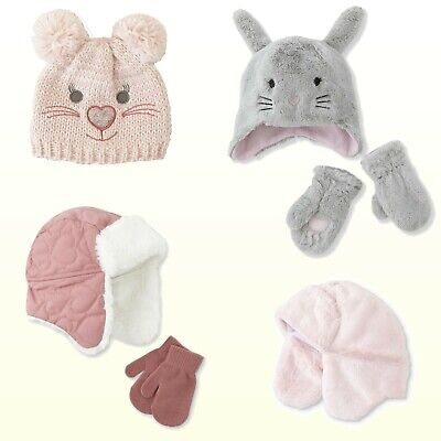 Toddler Girls Winter Warm Hat or Hat & Mittens Set Earflap Trapper Quilted