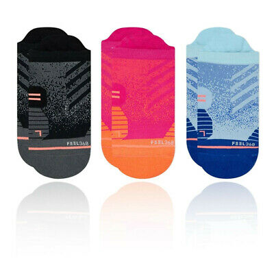 Stance Mujer Run Tab Calcetines - Negro Rosa Deporte Correr Transpirable Ligero