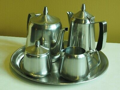 Oneida Continental 18/8 Stainless Steel Coffee / Tea Set With Tray