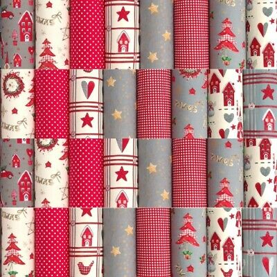 """SCANDI CHRISTMAS PATCHWORK QUILTING FABRIC SQUARES 100% COTTON 50 x 4"""" CHARMS"""