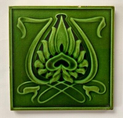 Original Antique Victorian Art Nouveau Majolica Tile C1904 Corn Bros