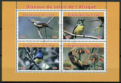 Chad 2019 CTO African Sunbirds of Africa 4v M/S Sunbird Birds Stamps