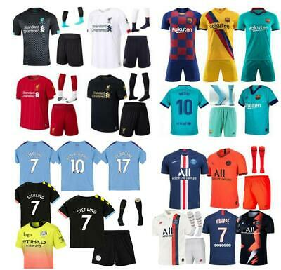 19-20 Football Kits Soccer Suits Kids Jersey Strip Sports Suits+Socks Boys 3-13Y