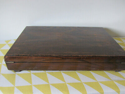 """Vintage/Antique Wooden Box Music Paper Inlay Brass Hinged 18"""" x 11"""" x 3""""."""