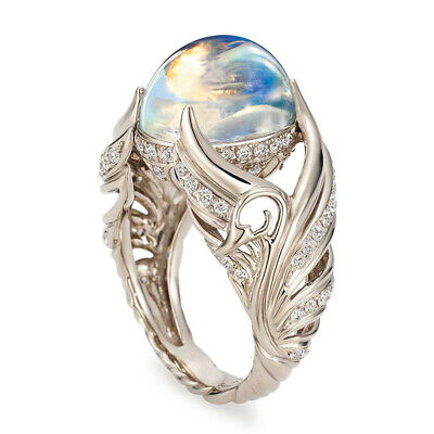 925 Silver Ring Woman Man White Fire Opal Moon Stone Wedding Engagement Gift