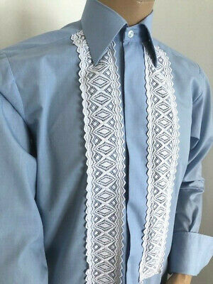 """Striking Blue Embroidered Evening Shirt Tuxedo Dinner Xmas Party 42 X 15.5"""" M"""