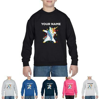 Children In Need Spotty Unicorn Funny Personalised Front Name Black Sweat shirt