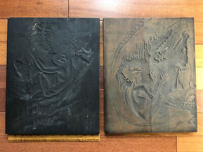 1931 Art Deco 2 Wood Carved Relieve Panels Art Signed RB