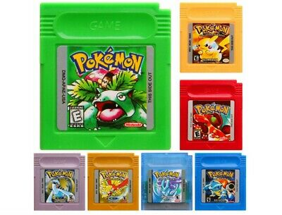 GBC Pokemon Green Yellow Red Silver Gold Crystal Blue Game Card Game Boy Color