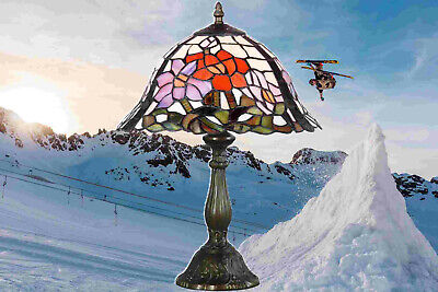 Table Lamp in Tiffany Style Antiques Art Design Bronze Coloured Handmade 3