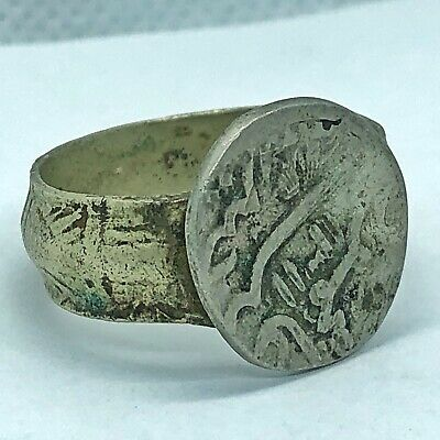 Antique Middle Eastern Ring Made W/ Late Or Post Medieval Token Or Coin Old