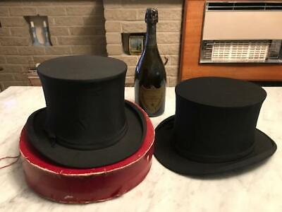 2 x Vintage Collapsible Black Top Hats Opera Hats + Original Box by Dunn & Co UK