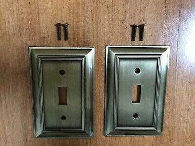 Two Solid Antique Brass Decorative Single Switch Plate Covers