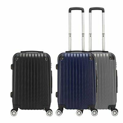 "20"" Expandable ABS Carry On Luggage Travel Bag Trolley Suitcase Hardshell Black"