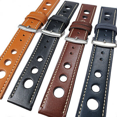 Mens Genuine Leather Rally Grand Prix Racing Style Watch Strap