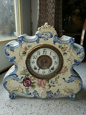 "Antique Ansonia ""DRESDEN EXTRA"" Porcelain Clock, 8-Day, Time/Strike, Key-wind"