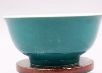 chinese old handmade Green glaze porcelain bowl 10621