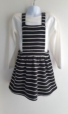 M&S Girls Black Striped Pinafore Dungarees Dress & White T shirt 4-5 Yrs EUR 110