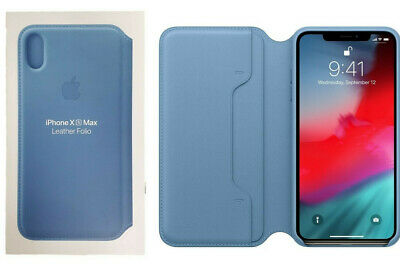 Apple Leather Folio Case for iPhone XS Max Cape Cod Blue MRX52ZM/A Brand NEW