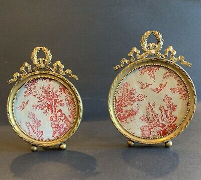 Pair Of Antique 19th Century French Bronze Dore Round Photo Frames With Bow Top
