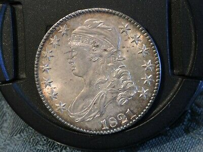 * 1821 * Capped Bust 50c. Silver Half Dollar Toned Uncirculated Raw Vault Find !