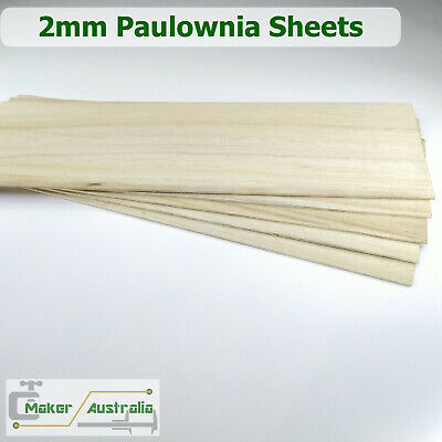 5 Sheets 2mm Paulownia Wood Sheets Plate DIY for Model Craft