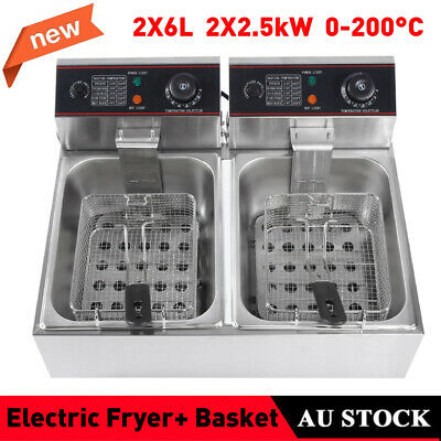 12L Commercial Electric Deep Fryer Twin Frying Basket Chip Cooker Countertop AU